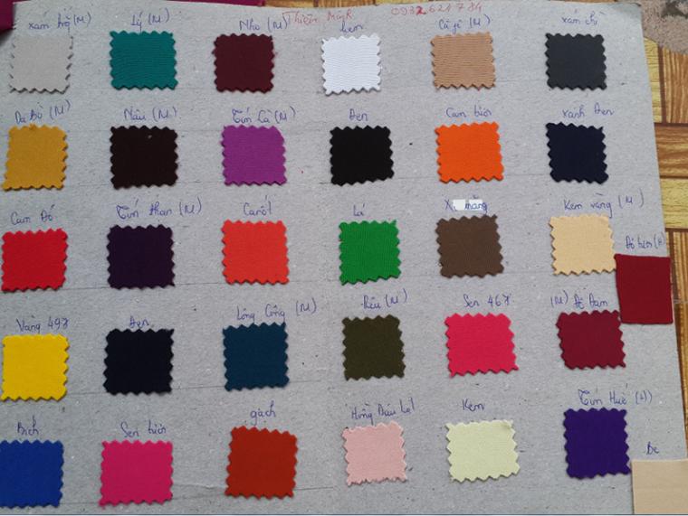 Bảng màu vải thun 2 da - Vải Vân Sinh