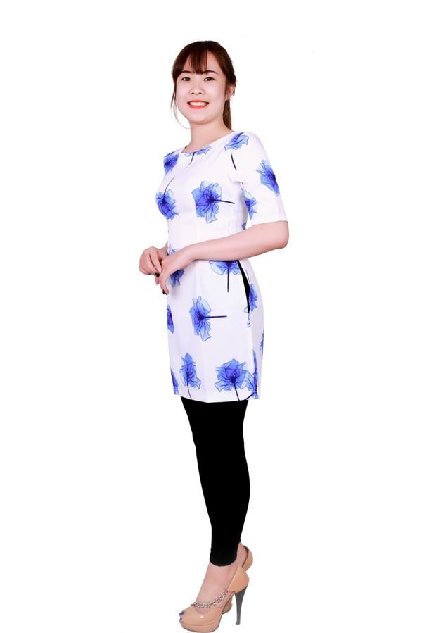 Áo dài được may bằng Vải thun Gấm Nhật - Vải Thun Vân Sinh