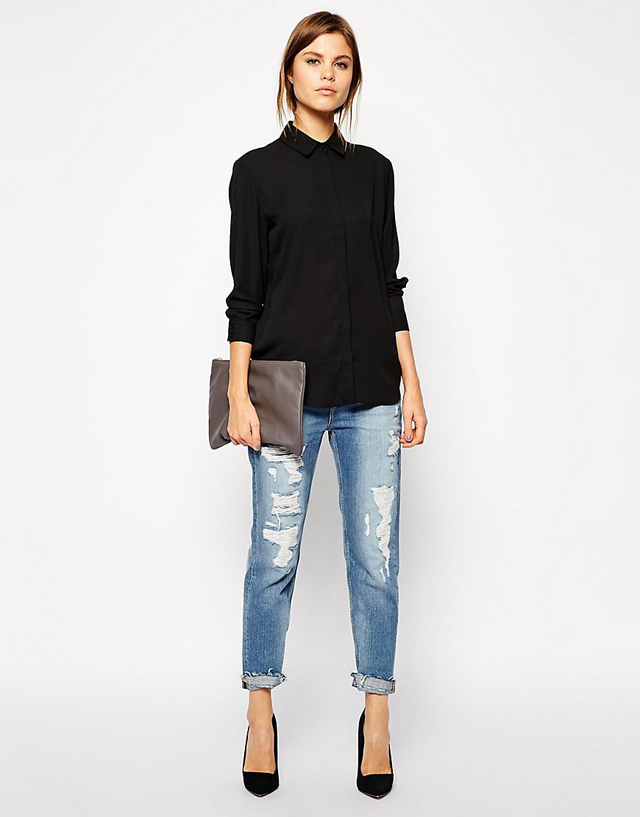 Phối áo sơ mi với quần Jean